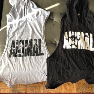 Gray and black sleeveless hoodies